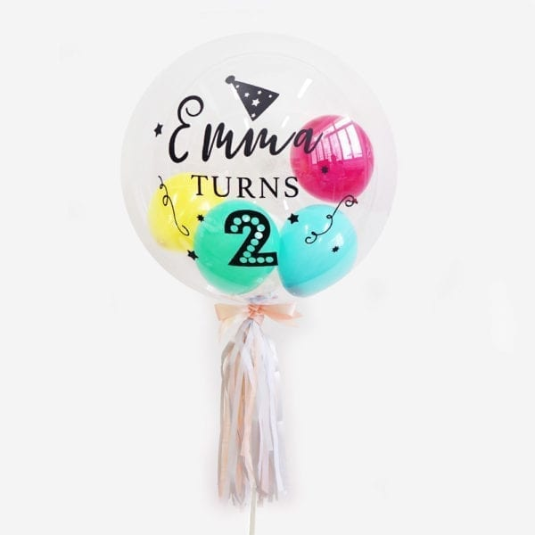 Customise Personalised helium birthday party balloon with tassels 24 inch