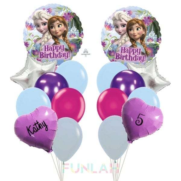 Balloon double cluster princess frozen foil balloons with hearts