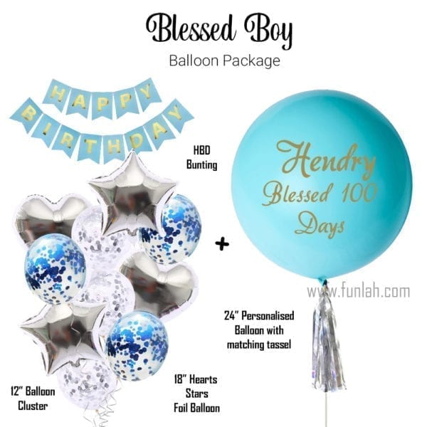 Funlah Balloon Package Baby Shower Blessed Boy