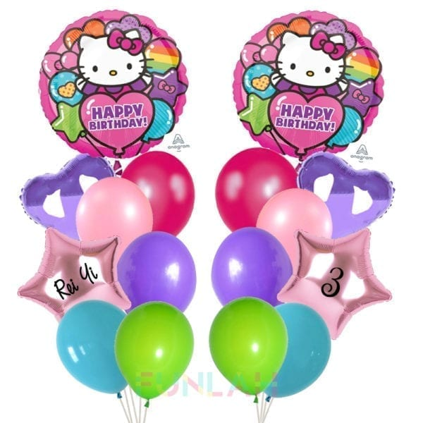 Balloon double cluster hello kitty foil balloons with heart and foil