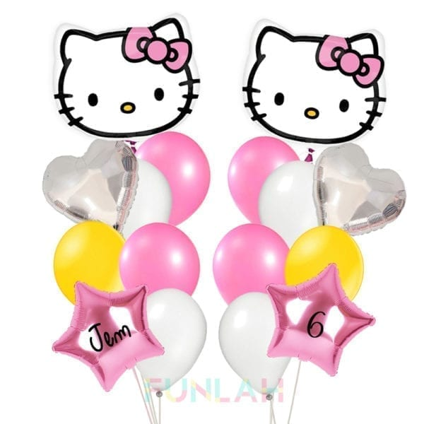 Balloon double cluster hello kitty HEAD foil balloons with heart and foil