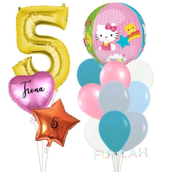 Balloon double cluster hello kitty orbz with foil number balloons