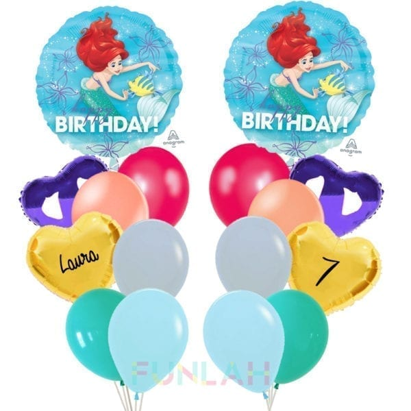 Balloon double cluster princess ariel present foil balloons with hearts