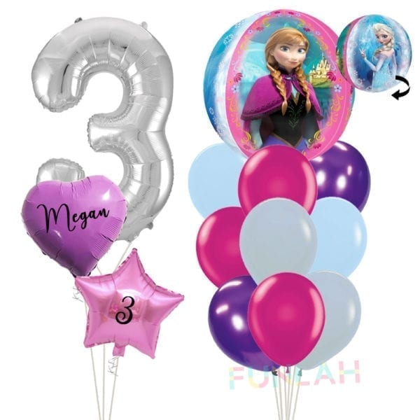 Balloon double cluster princess frozen orbz with foil number balloons