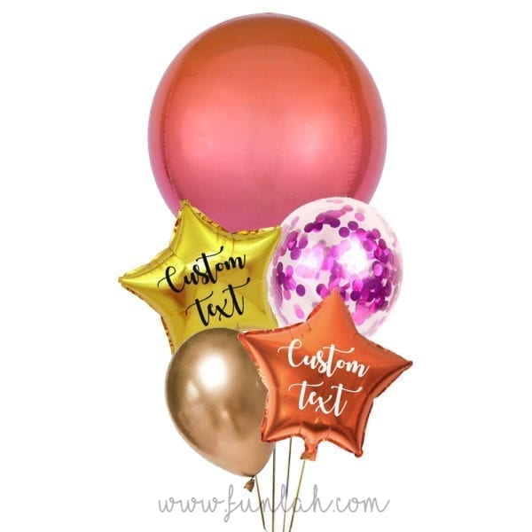 Funlah-Orange-Red-Ombre-Orbz-disco-ball with heart balloon bouquet