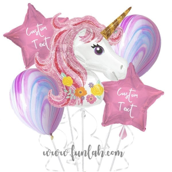 Funlah Princess Unicorn With Personalized Message Balloon Bouquet