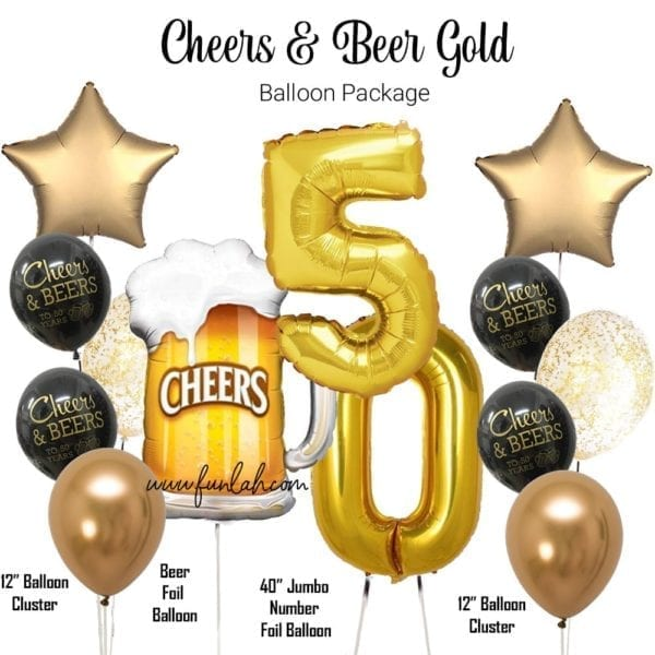 Cheers and Beer gold birthday balloon package