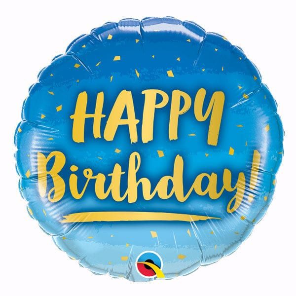 Brithday gold and blue foil balloon 18 inch