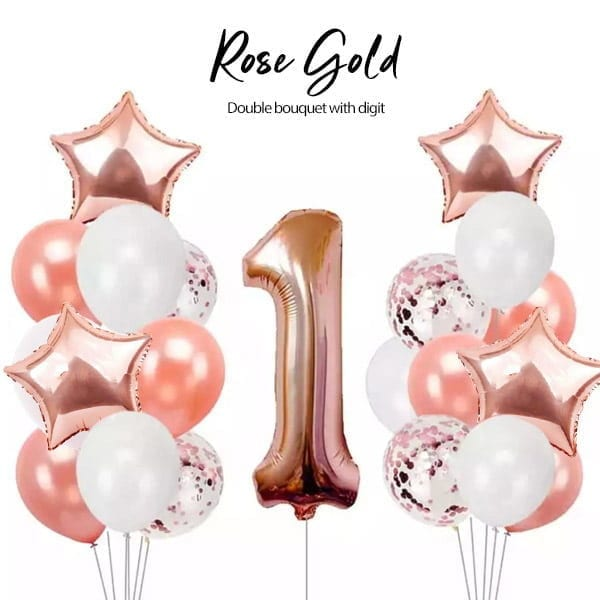 Double Helium Balloon Bouquet with Digit Rose Gold