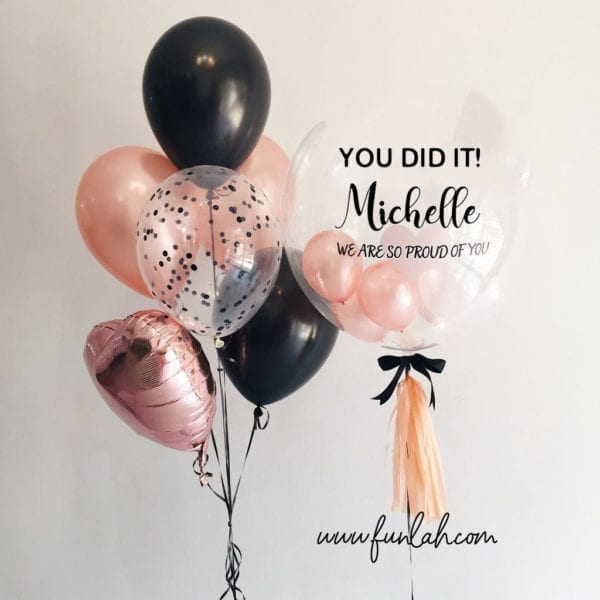Graduation personalized Balloon with side bouquet