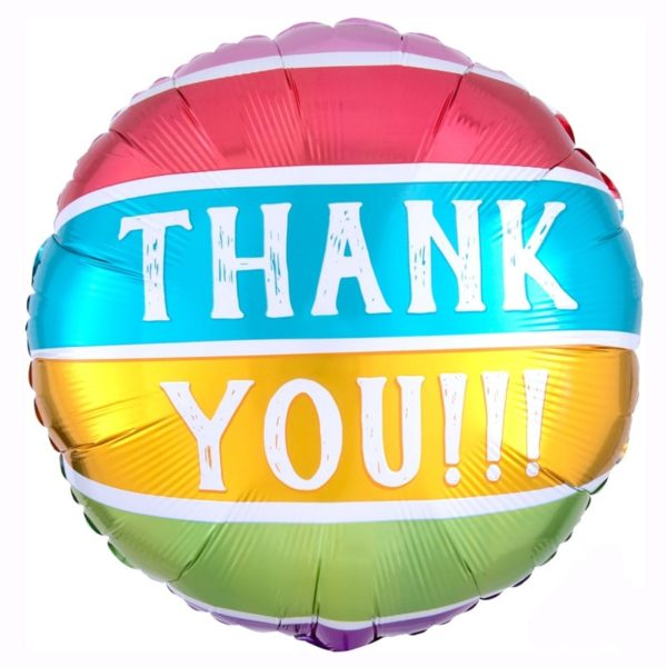 Thank you striped colours Helium Foil Balloon 18 inch