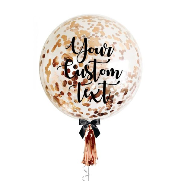 36 inch Personalized jumbo balloon with copper gold confetti