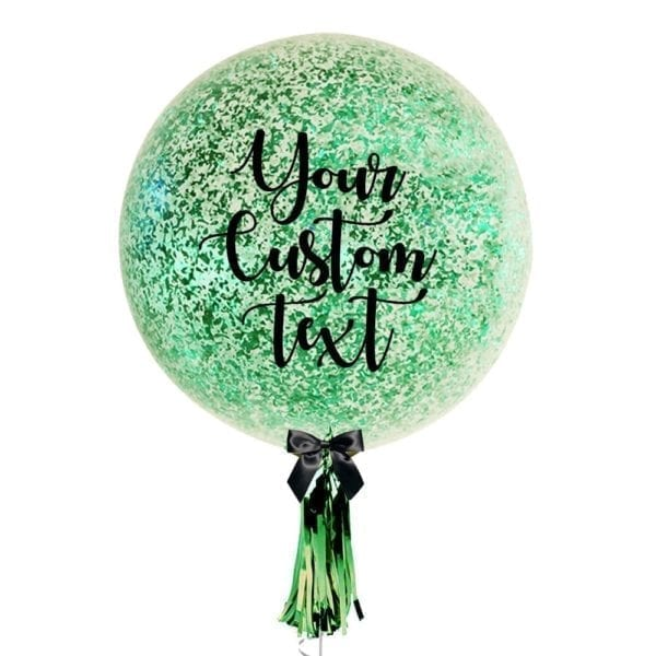 36 inch Personalized jumbo balloon with messy green confetti