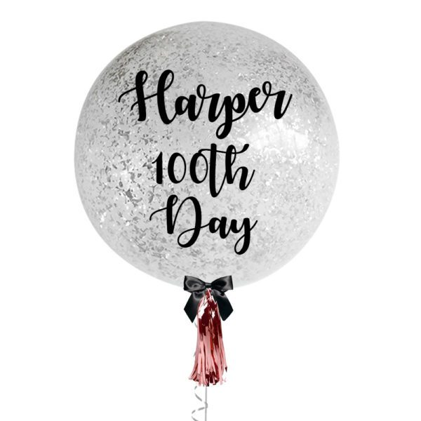 36 inch Personalized jumbo balloon with messy silver confetti