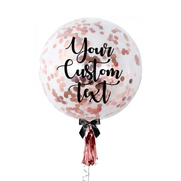 36 inch Personalized jumbo balloon with rose gold confetti