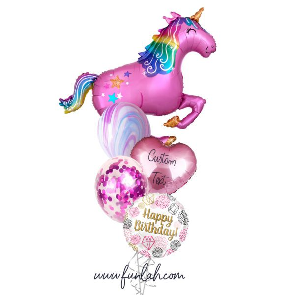 Funlah Pink Magical Unicorn Hearts Personalized Message happy birthday Balloon Bouquet