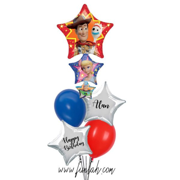 Toy Story foil layered balloon bouquet with custom text