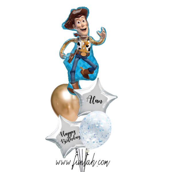 Woody star foil layered balloon bouquet with custom text