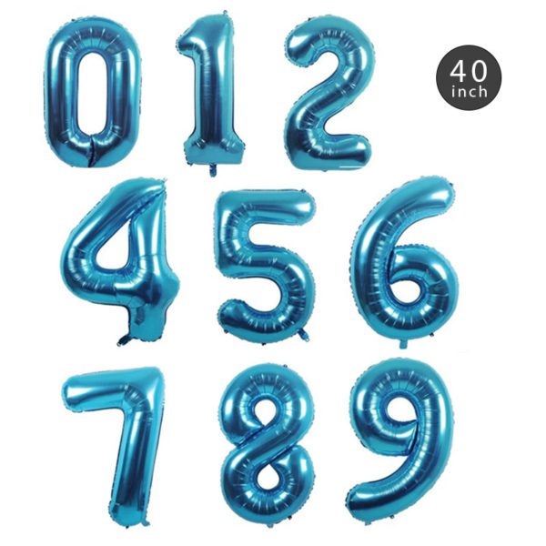 40 INCH JUMBO BABY BLUE NUMBER FOIL BALLOON letters