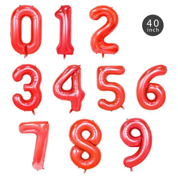 40 INCH JUMBO RED NUMBER FOIL BALLOON letters