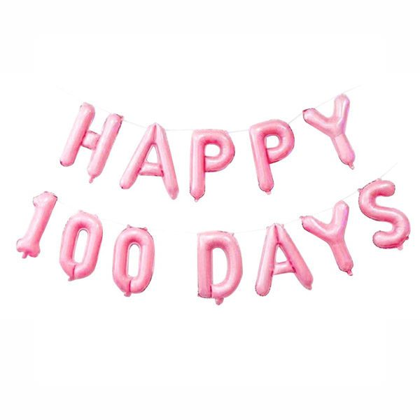 Happy 100 day foil balloon baby pink
