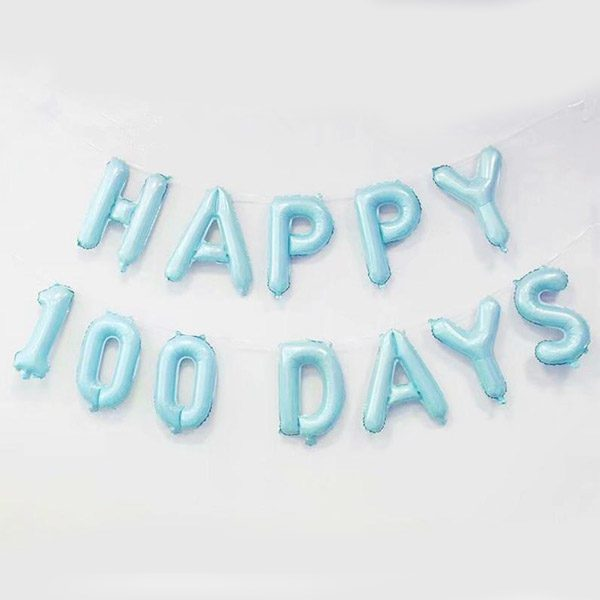 Happy 100 day foil letter balloon baby blue