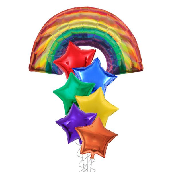 Holographic Rainbow and stars foil balloon bouquet