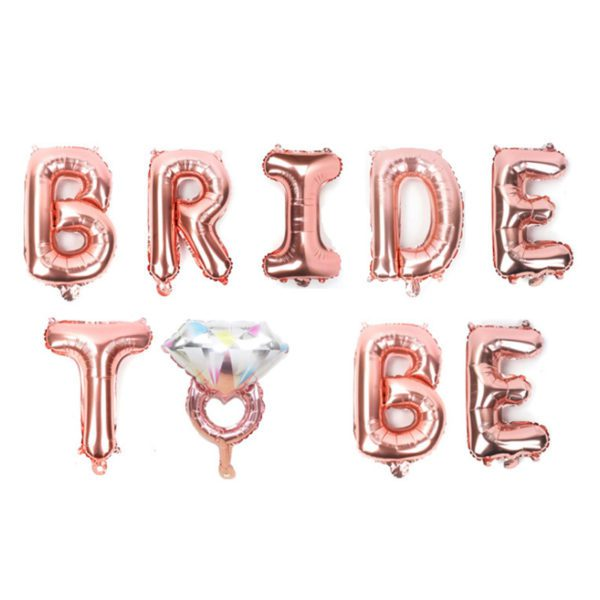 bride to be ring rose gold foil letter balloon