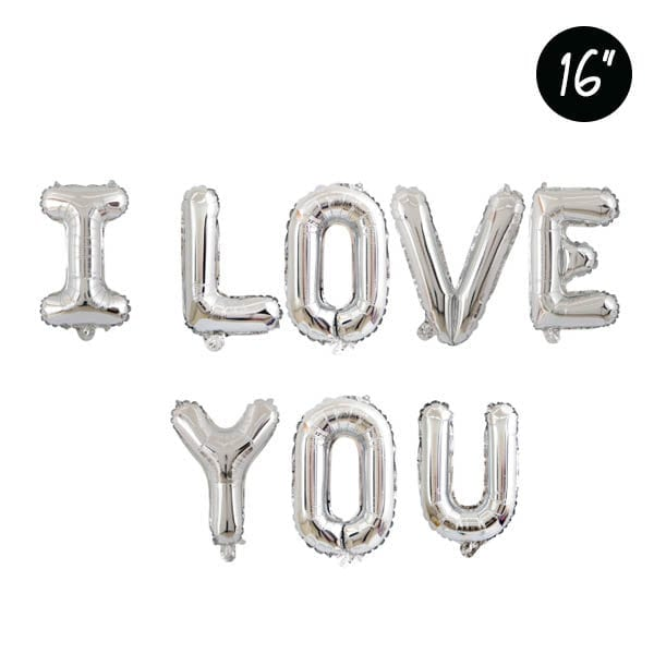 16 inch I love you silver foil balloon