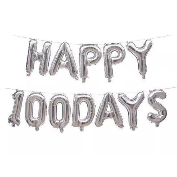 Happy 100 Days Silver Foil letter Balloon