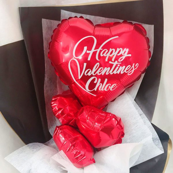 Valentines Day Red Hearts Customize Balloon Hand Bouquet