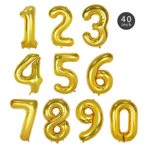 40 INCH GOLD NUMBER FOIL BALLOON