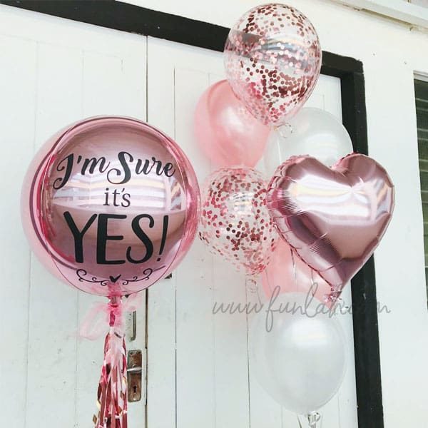 Rose gold customize orbz with side heart balloons