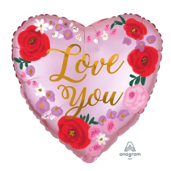 Satin Love you floral painted balloon