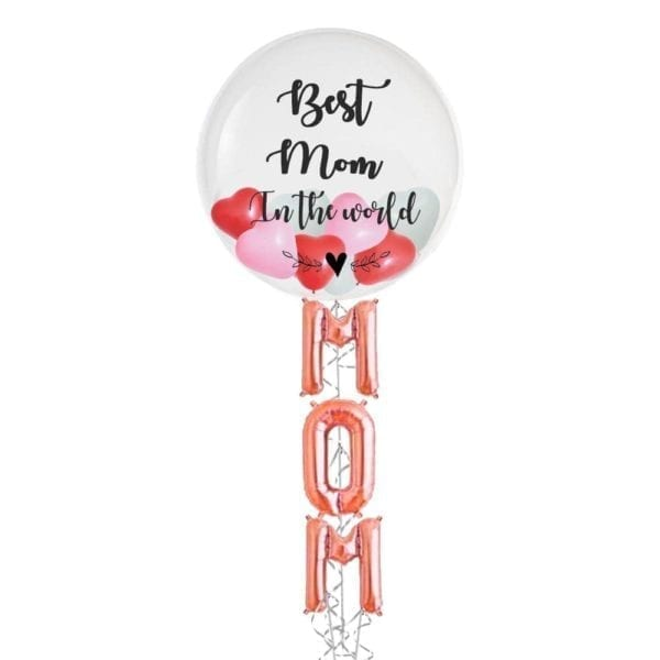 Best mom in the world Mini hearts in balloon