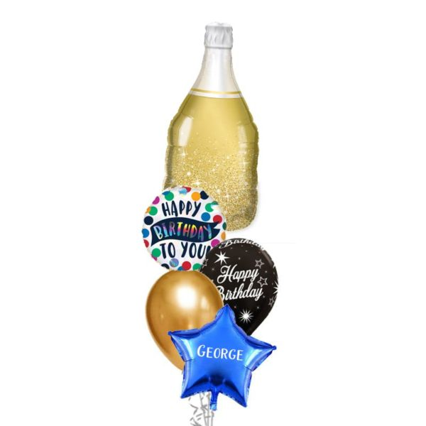 Golden bubbly Wine Balloon Bouquet