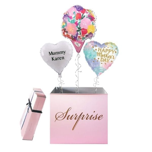 Happy Mothers Day Flower Bouquet Balloon Surprise Box