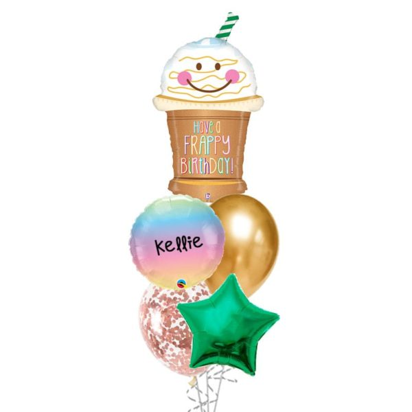 Have a frappy birthday balloon bouquet