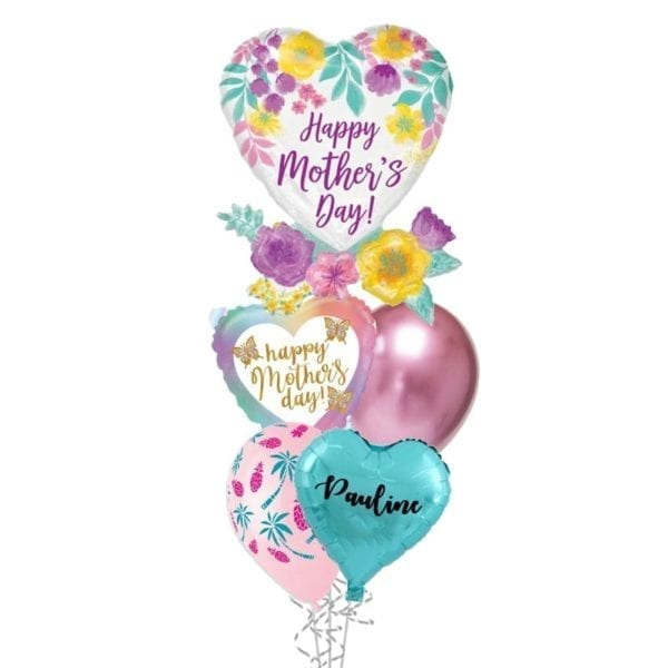 Mothers Day Flowers and Butterflies Balloon Bouquet