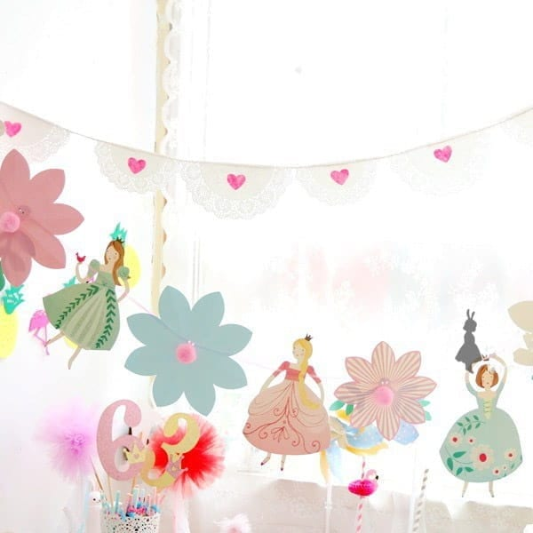 Flower Princess Party Paper Bunting
