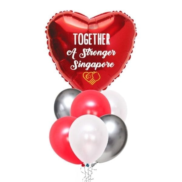 Together A Stronger Singapore Red Heart Balloon bouquet