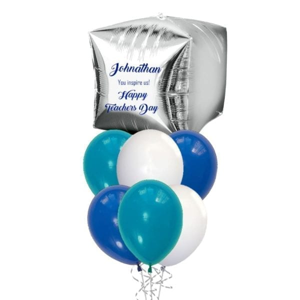 For Him Teachers Day Personalized Cube Balloon Bouquet