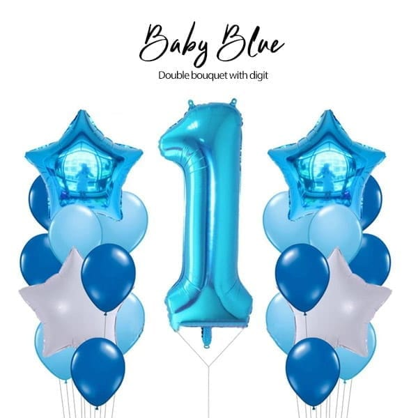 Double Balloon Bouquet with Digit Baby Blue