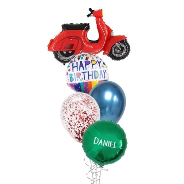 Red scooter balloon bouquet
