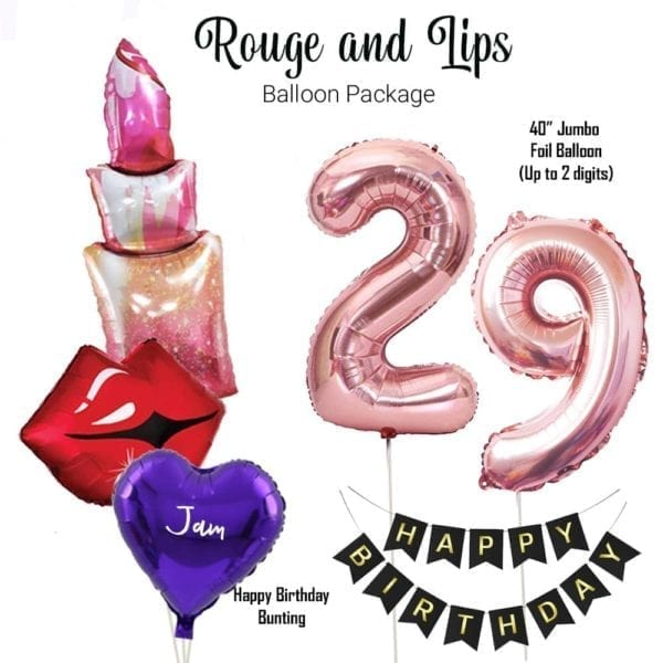 Rouge and lips balloon package