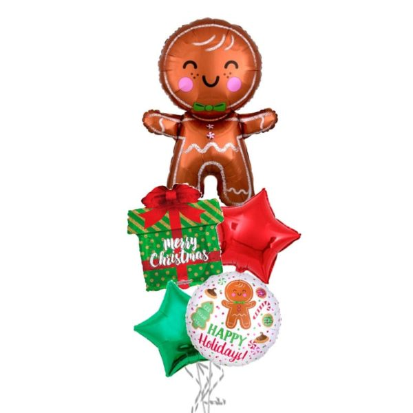 Christmas Smiling Gingerbread balloon bouquet
