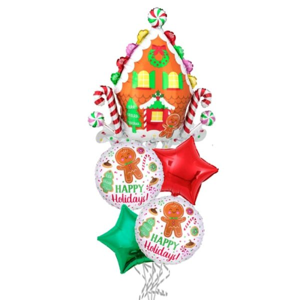 Gingerbread Candy House Christmas balloon bouquet