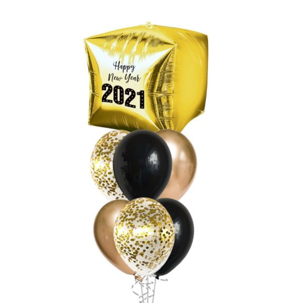 New Year Gold Cube Balloon Bouquet