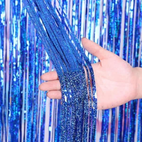 Holographic Blue Curtain Backdrop