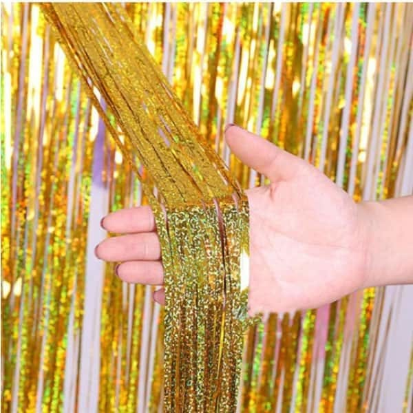 Holographic Gold Curtain Backdrop